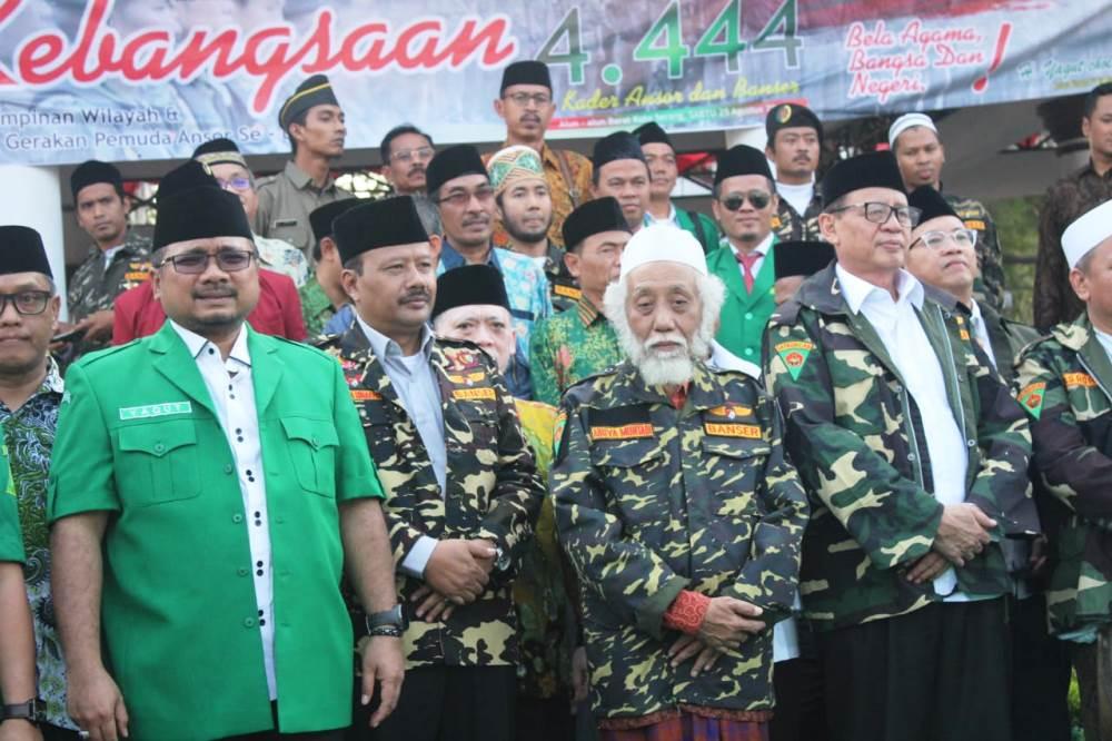 Apel Kebangsaan Gerakan Pemuda Ansor Banten di Alun-alun Barat Kota Serang, Sabtu (25/8/2018).