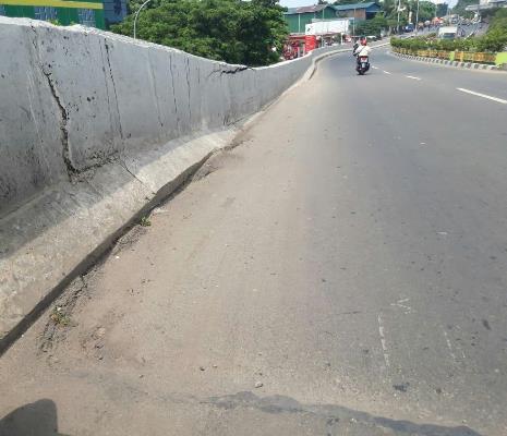 Kondisi kontruksi Flyover di Jalan Gatot Subroto, Cibodas, Kota Tangerang.