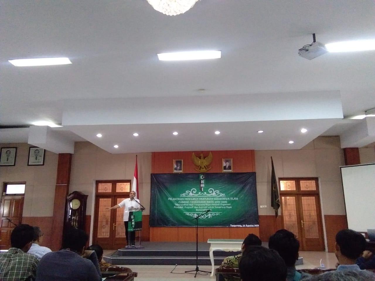 Kegiatan pelantikan Himpunan Mahasiswa Islam Cabang Tangerang Raya periode 2019-2020, di Gedung Pendopo Bupati, Sabtu (24/8/2019).