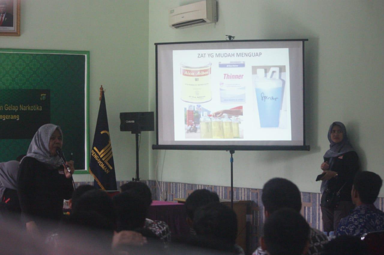 Kegiatan penyuluhan bahaya narkoba di Lembaga Pemasyarakatan Khusus Anak (LPKA) Klas I Tangerang, Jumat (27/12/2019).