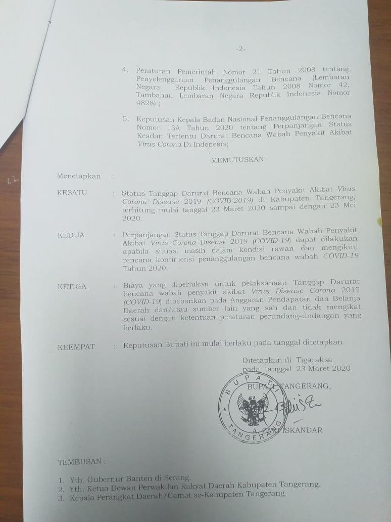 Surat Tanggap darurat wabah Virus Corona (COVID-19) Kabupaten Tangerang.