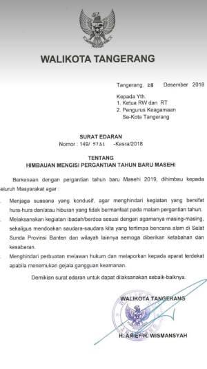 Surat edaran Walikota Tangerang Arief R Wismansyah.
