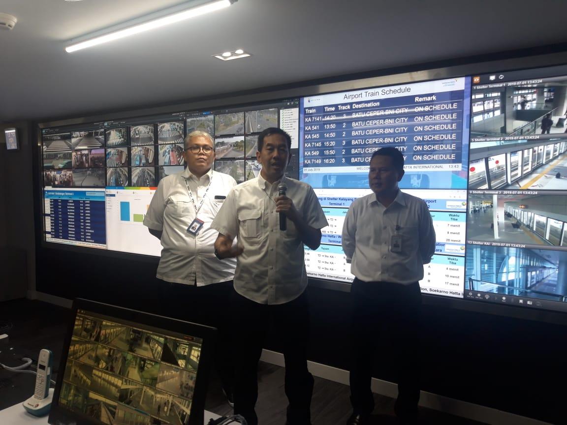 Ruang Land Transportation Operation Center (LTOC) di gedung Airport Operation Control Center (AOCC) Bandara Soekarno-Hatta.