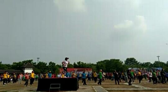 Kegiatan parade dan senam kebangsaan di Kabupaten Tangerang, Jumat (18/10/2019).