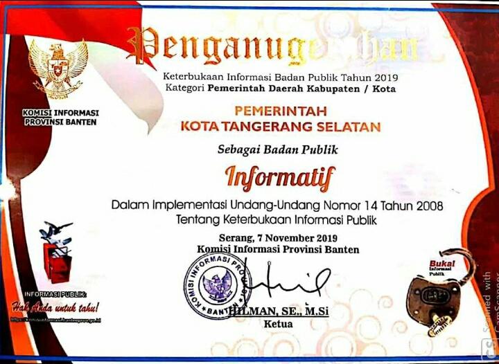 Piagam penghargaan sebagai Kota dengan informasi Badan Publik Tahun 2019 Paling Terbuka dari Komisi Informasi Provinsi Banten.