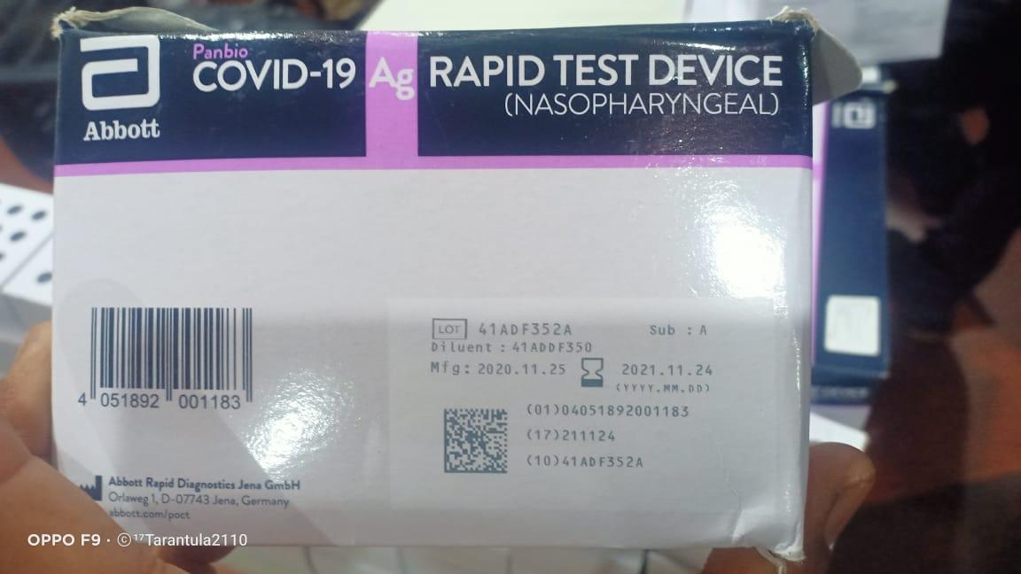 Alat Rapid Test yang di daur ulang kembali di Bandara Kualanamu, Deli Serdang, Sumatera Utara.