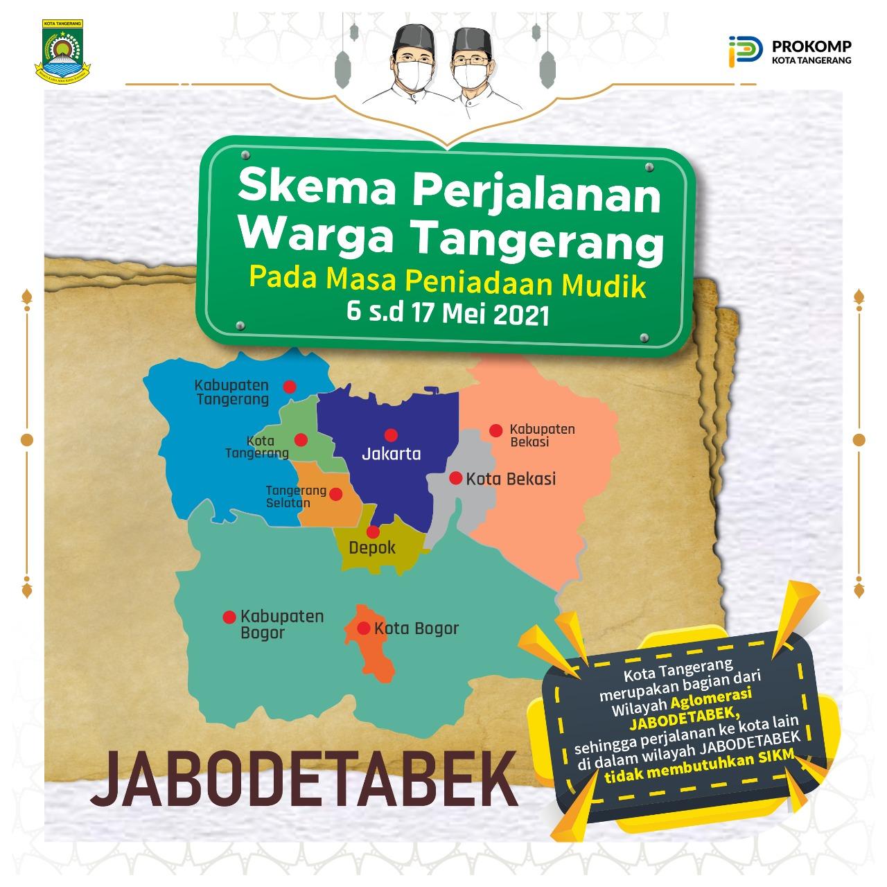 Flayer skema perjalanan arga Tangerang pada masa peniadaan mudik.