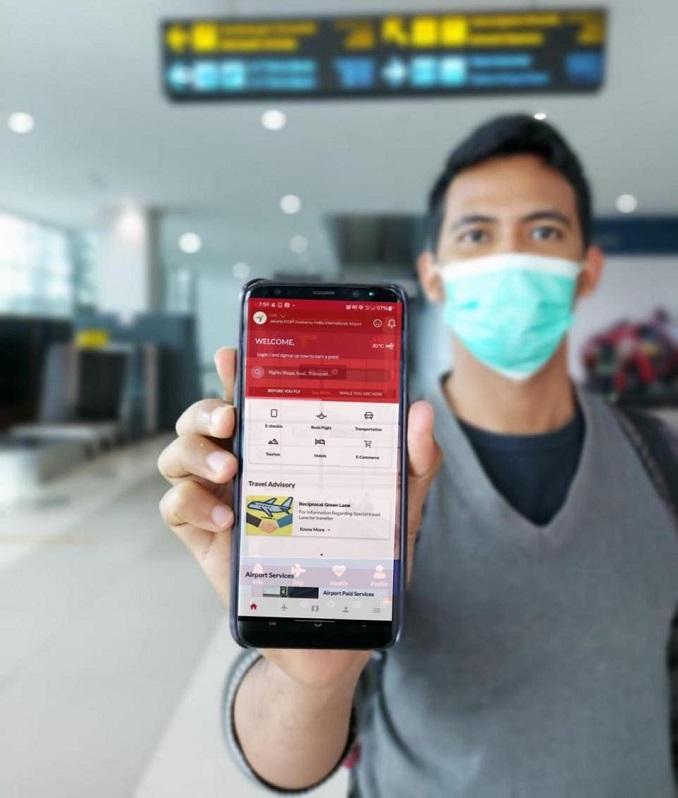 Tampilan Aplikasi mobile Travelin salah satu pelayanan dari PT Angkasa Pura (AP) II (Persero).